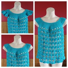 #Crochet Women's L/XL Top Shirt with optional sleeves #TUTORIAL