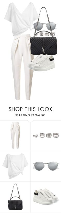 """Untitled #20887"" by florencia95 ❤ liked on Polyvore featuring Delpozo, Forever 21, Red Herring, Ray-Ban, Yves Saint Laurent and Alexander McQueen"