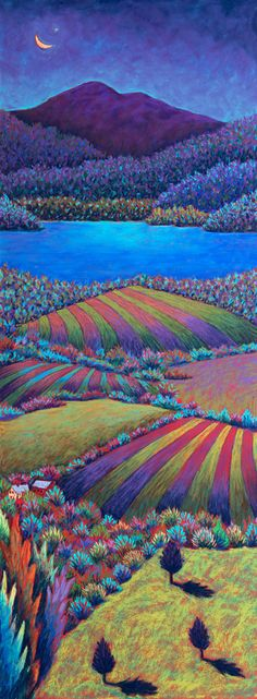 Evening Fields Over Lake Champlain, pastel by Daryl Storrs