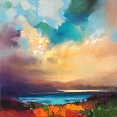 30 x 30cm oil on linen Original contemporary Scottish Skyscape £825 Contact me for purchase enquiry