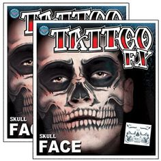 Want to buy Day of the Dead Skeleton Skull Full Face Temporary Tattoo Kit - 2 Complete Kits for Halloween Gifts Idea Shopping Online for #Halloween Gifts Idea Sales