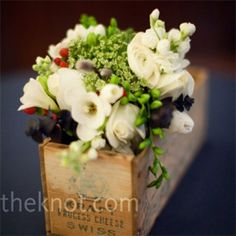 10 Stylish Centrepiece Ideas 10 Stylish Centrepiece Ideas- Vintage Wooden Box Centrepieces – The Knot