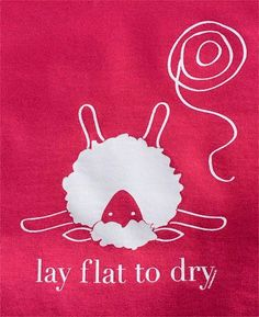 "These screen printed shirts offer a women's cut with a slight taper at the waist, a flattering relaxed neckline, and proportional shorter sleeves. The popular ""Lay flat to dry"" sheep is printed in white on a heathered red or pewter grey shirt. Crochet Quotes, Knitting Quotes, Knitting Humor, Crochet Humor, Knit Or Crochet, Knitting Yarn, Knitting Projects, Knitting Patterns, Crochet Patterns"
