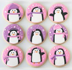 Glorious Treats: Pink and Purple Penguin Cookies