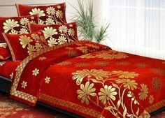 Jacquard Wedding Collection Bedcover - Mesmerise your guest by getting this bedcover in red and gold color for parties, festivals, marriages and anniversaries ahead.#krtifab presents the Jacquard Bedcover for special occasions . Visit us at https://www.facebook.com/KrtiF