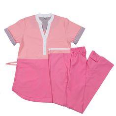Carmina Poly rosa con fucsia Dental Uniforms, Scrubs, Bermuda Shorts, Medicine, Tunic, Blazer, How To Wear, Outfits, Fashion