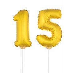 Gouden opblaas cijfer 15 op stokjes. Beide ballonnen zijn ongeveer 41 cm. Door middel van de ballonstokjes kun je de cijfers in een zachte ondergrond plaatsen. De ballonnen zijn alleen geschikt voor lucht.
