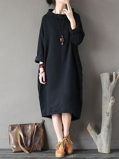 Gracila Casual Loose Solid Color Long Sleeve Stand Collar Women Dresses