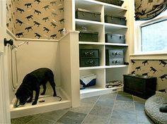 Instead of a mudroom, a dog washing station! I love the idea of tucking this into a finished and unused basement corner. It would really make the process easier.