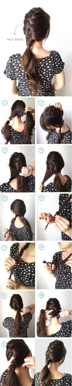 How to make half braid for your hair. this is to make your hair thicker in the ponytail! Braided Hairstyles Tutorials, Diy Hairstyles, Pretty Hairstyles, Hair Tutorials, Makeup Tutorials, Easy Hairstyle, Ponytail Hairstyles, Pinterest Hairstyles, Hairstyle Ideas
