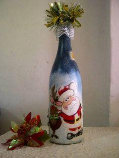 Botella con motivo navideño: Santa.