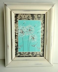 Painted Dandelions Framed Art Shabby Chic home decor, Aqua Blue, White Cream Frame, Gray Damask, Gift, 5x7, Up-cycled Frame. $20.00, via Etsy.