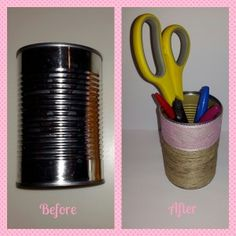 Upcycling a tin can to a pencil holder