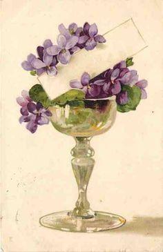 purple violet with name tag Images Vintage, Vintage Cards, Vintage Paper, Vintage Postcards, Vintage Flowers, Vintage Floral, Sweet Violets, Deco Floral, Pics Art