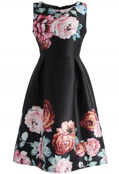 Endless Blooming Rose Printed Dress in Black - Floral - Dress - Retro, Indie and Unique Fashion Dressy Dresses, Cute Dresses, Short Dresses, Floral Dresses, Beautiful Dresses, Studded Dress, Embellished Dress, Rose Print Dress, Rose Dress