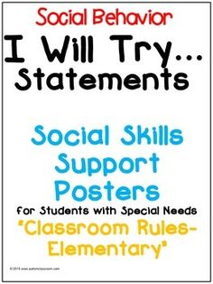 I Will Try Statements- Social Skills Support Posters for Students with Special Needs (About My Hands). 3 Posters to supplement social narratives or social stories for students.A social story in a poster form. Social Skills Autism, Social Skills Activities, Social Behavior, Elementary Classroom Rules, Autism Classroom, Classroom Ideas, Classroom Posters, Coping Skills, Life Skills