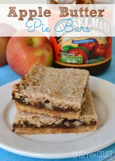 Apple Butter Pie Bars | crazyforcrust.com | #apple #pie