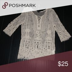 Beige knit and lace shirt Great for warm weather! Light and fun, layer over a swim suit or a tank top. Never been worn Tops Blouses
