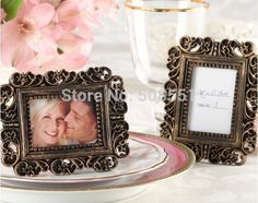 """Ornate"" Antique Gold Place Card Holder/Photo Frame Favors Free Shipping"