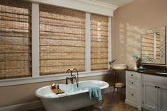 Revel in the tranquil beauty of natural textures with Hunter Douglas Provenance® Woven Wood Shades. ♦ Hunter Douglas Window Treatments