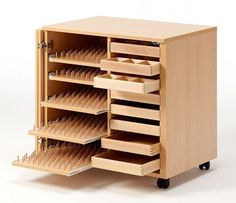 New Sewing Room Furniture Storage Spaces Ideas Thread Storage, Sewing Room Storage, Sewing Room Organization, Craft Room Storage, Storage Spaces, Craft Rooms, Storage Ideas, Sewing Room Design, Sewing Spaces