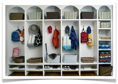 more mudroom lockers/cubbies Shoe Storage Solutions, Küchen Design, Interior Design, Traditional House, Home Organization, Organizing Ideas, Organisation Ideas, Shelving, Foyer