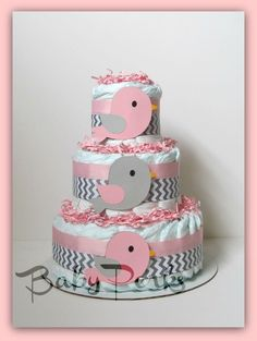 ETsy: Pink and Grey Baby Shower . Pink and Grey Bird Diaper Cake . Baby Shower Diaper Cake. (49.00)