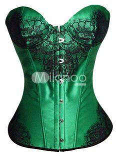 Green Sexy Front Button Satin Women's Overbust Corset - Milanoo.com