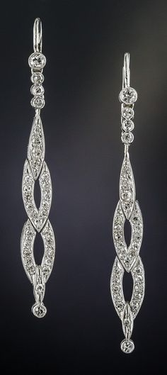 A pair of Art Deco platinum and diamond earrings, 1920s.