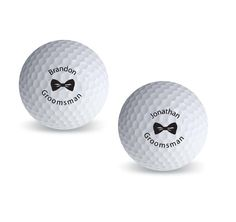 Thank your groomsmen with a gift that he'll truly love! These Personalized Groomsman Bowtie Golf Balls are perfect for the golf enthusiast! Each golf ball is printed with a name, a bowtie design and his title in your color choice.