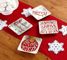 Holiday Cheer Appetizer Plates, Mixed Set of 4 | Pottery Barn