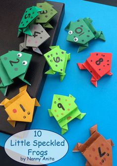Origami frogs for use in a maths activity inspired by the song 5 little speckled frogs. Origami Frog, Origami Paper, 5 Little Speckled Frogs, Jumping Frog, Math Boards, Kindergarten Themes, Learn To Count, Little Duck, Making 10