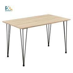 """Tento [en.casa] Jedálenský stôl """"Kiel"""" HTAT-9211 bol inšpirovaný najnovšími trendmi je vynikajúcou voľbou do jedálne, kuchyne, jedálenského kúta alebo kuchyne. Skvelý dizajn, ktorý v sebe spája dekor dubového dreva a čierne kovové nohy, je vhodný aj ako vybavenie reštaurácií alebo kaviarní. Jedálenský stôl ponúka dostatok miesta pre 4 osoby pri rozmeroch 120 x 70 cm."""