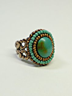 Turquoise Copper Handmade Beaded Statement Ring by Beadwork4Sale