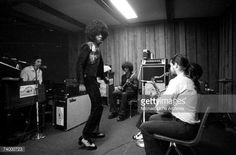 Psychedelic soul group 'Sly The Family Stone' records in the studio on April 3 1973