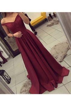 2017 vestidos de noche una línea del hombro tren del barrido del satén