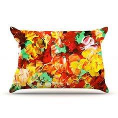 "Ebi Emporium ""Floral Fantasy II"" Orange Yellow Pillow Case from KESS InHouse #boldcolors #abstract #stylish #colorful #art #fineart #floral #flowers #pillow #pillowcover #cushion #decor #bedroom #livingroom #homedecor #cozy #lumbar #rectangular #dorm #red #crimson #yellow #orange #green #autumn #fall #decoration #feminine #chic #pattern #EbiEmporium"