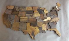 Contiguous USA map wall art wooden state art by WallArtWooden