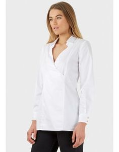 White Cross Over Long Sleeve Blouse With Collar