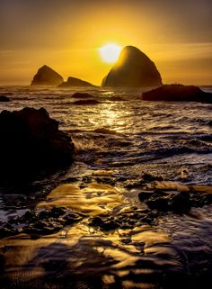~~Oceanside Oregon | coastal sea stacks and a rippling Pacific Ocean are illuminated by a golden sunset | by Larry Andreasen~~