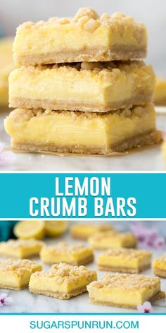 My lemon crumb bars have a perfectly tart and creamy lemon filling sandwiched between a buttery streusel crumble. Surprisingly simple to make and the perfect refreshing summertime (or anytime) treat! Recipe includes a how-to video! Potluck Desserts, Lemon Dessert Recipes, Small Desserts, Lemon Recipes, Easy Desserts, Sweet Recipes, Delicious Desserts, Yummy Food, Summer Recipes