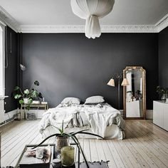 A Dramatic Swedish Space With Black Walls Dark Gray Pin On Interiores 35 Black Room Decorating Ideas How To Use Black Wall Paint Black Bedroom Interior Designs Home Bedroom, Bedroom Decor, Master Bedroom, Design Bedroom, Modern Bedroom, Bedroom Rustic, Teen Bedroom, Bedroom Small, Decor Room