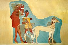 Mycenaean Fresco wall painting of a Mycenaean with horse & wild boar hunting dog from the Tiryns, Greece. 14th-13th c. BC. NAMA