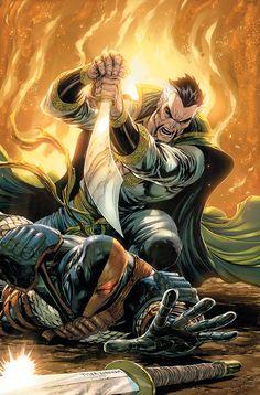 "artverso: ""Tyler Kirkham - Deathstroke vs Ra´s Al Ghul "" Dc Deathstroke, Deathstroke The Terminator, The Darkness, Batman Vs, Superman, Arte Dc Comics, Marvel Comics, Comic Books Art, Comic Art"