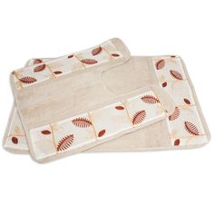 Autumn leaves on an ivory background make up this elegant bathmat set. It is sold individually or separately. This beautiful set features stripes and a leaf pattern for the perfect touch.