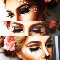 Deer makeup More Halloween Looks, Halloween 2015, Diy Halloween Costumes, Holidays Halloween, Halloween Decorations, Halloween Face Makeup, Pirate Costumes, Princess Costumes, Couple Halloween