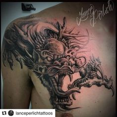 olio: Dragon Tattoo by from Grade A Tattoos & Body Piercing - Fort Wayne, IN. Dragon Tattoo Images, Dragon Tattoo Art, Alien Tattoo, Dragon Tattoo Designs, Dragon Tattoo Shoulder, Mens Shoulder Tattoo, Body Art Tattoos, Tattoo Drawings, Lotus Mandala Tattoo
