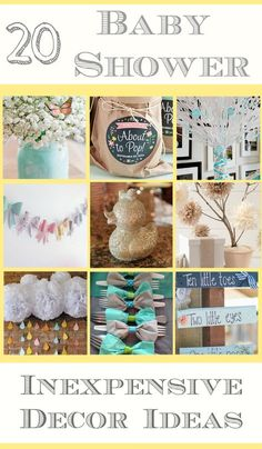 20 cheap Baby Shower decor ideas. Many items can be found at The Dollar Store and look cute for boys and girls.