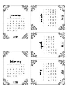 FRE printable 2018 calendars | black & white version | scrappystickyinkymess