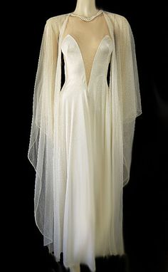 Vintage sheer peignoir with butterfly sleeves and nude illusion nightgown with sheer back.